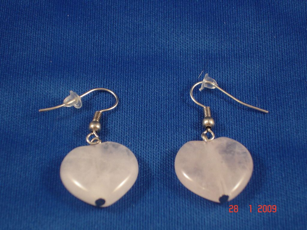 Genuine Clear Quartz Stones Contemporary Heart Earrings