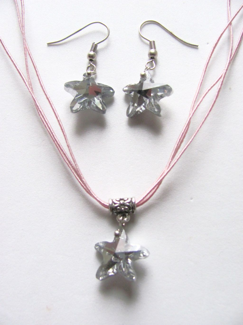 Genuine Crystal StarFish Sea Star Charm Pink Necklace Earrings Set