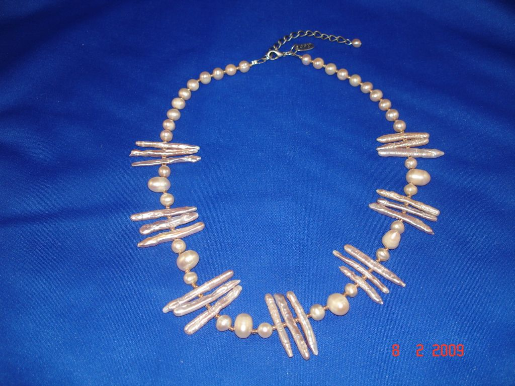 Genuine Mother-of-Pearl Necklace, Beige Color, European Fashion Jewelry
