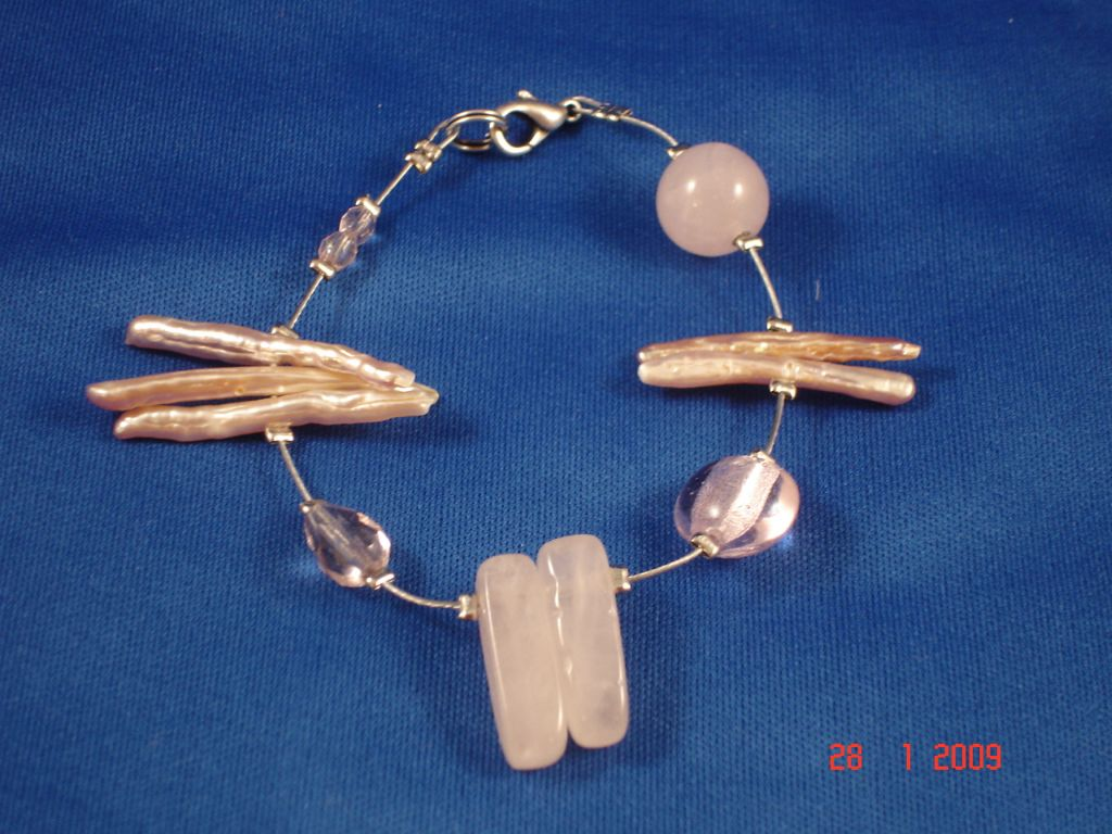 Genuine Mother-of-Pearl & Stones Contemporary Bracelet, Light Pink Color