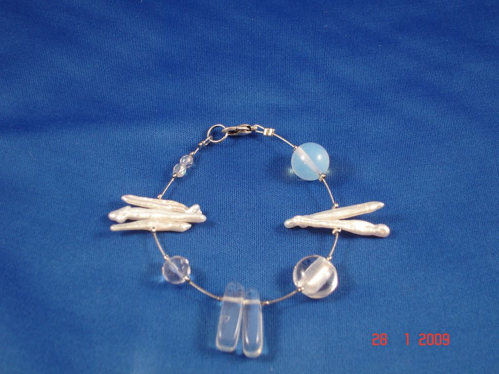 Genuine Mother-of-Pearl & Stones Contemporary Bracelet, White Color