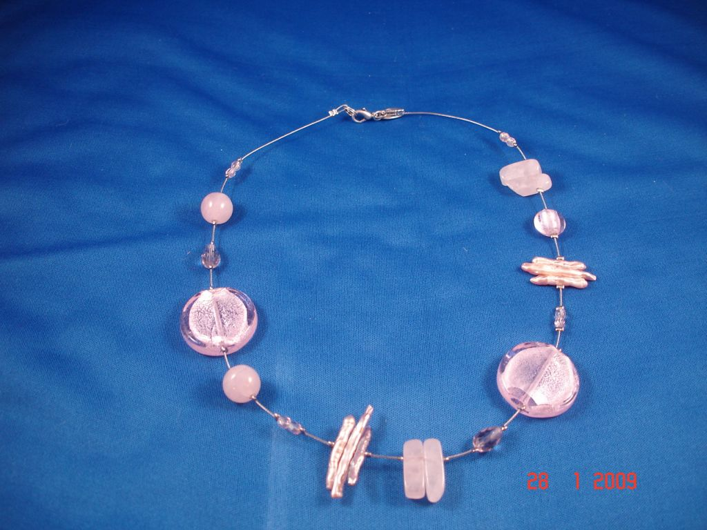 Genuine Mother-of-Pearl & Stones Contemporary Necklace, Light Pink Color