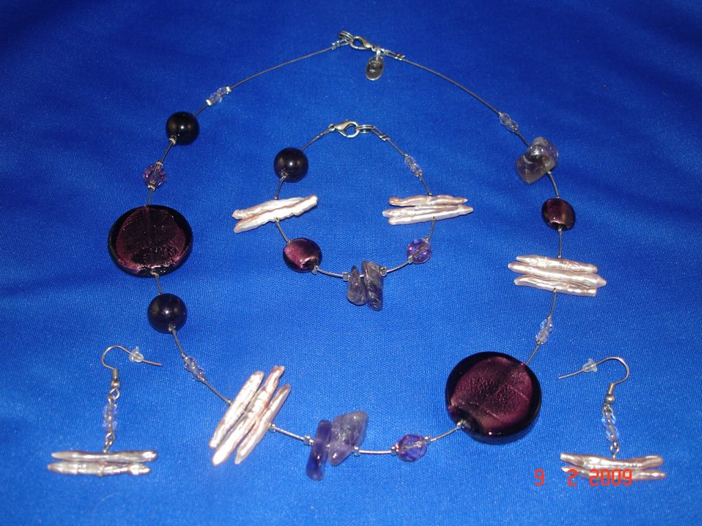 Genuine Mother-of-Pearl & Stones Set of Necklace, Bracelet & Earrings, Dark Purple Color