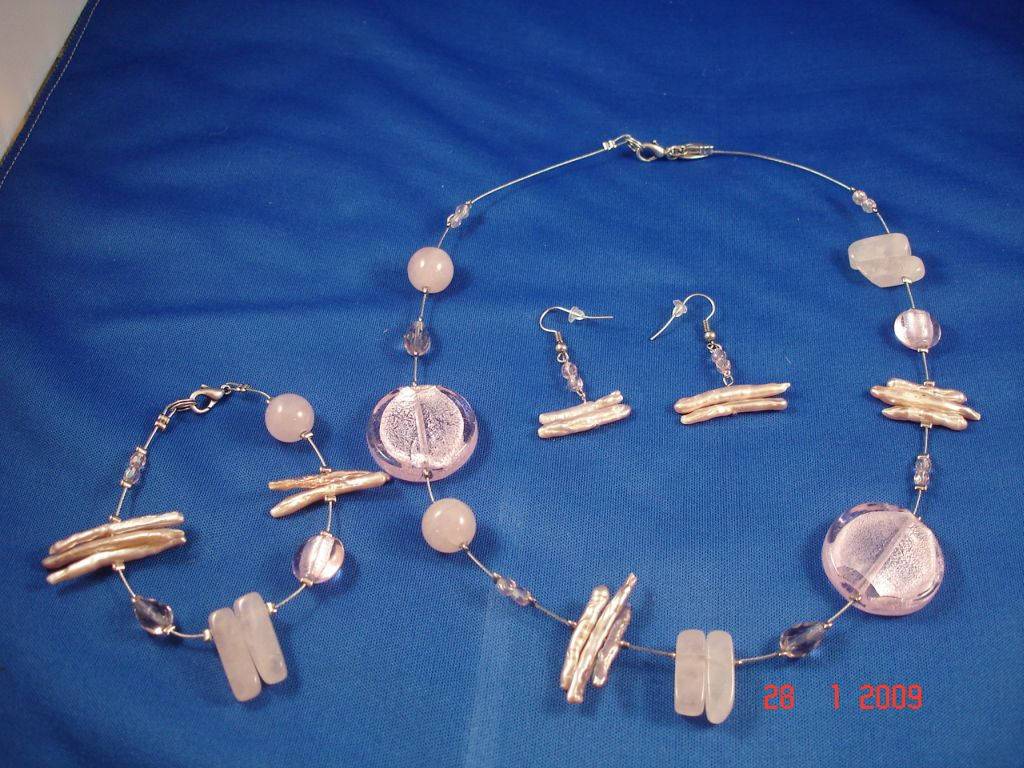 Genuine Mother-of-Pearl & Stones Set of Necklace, Bracelet & Earrings, Light Pink Color
