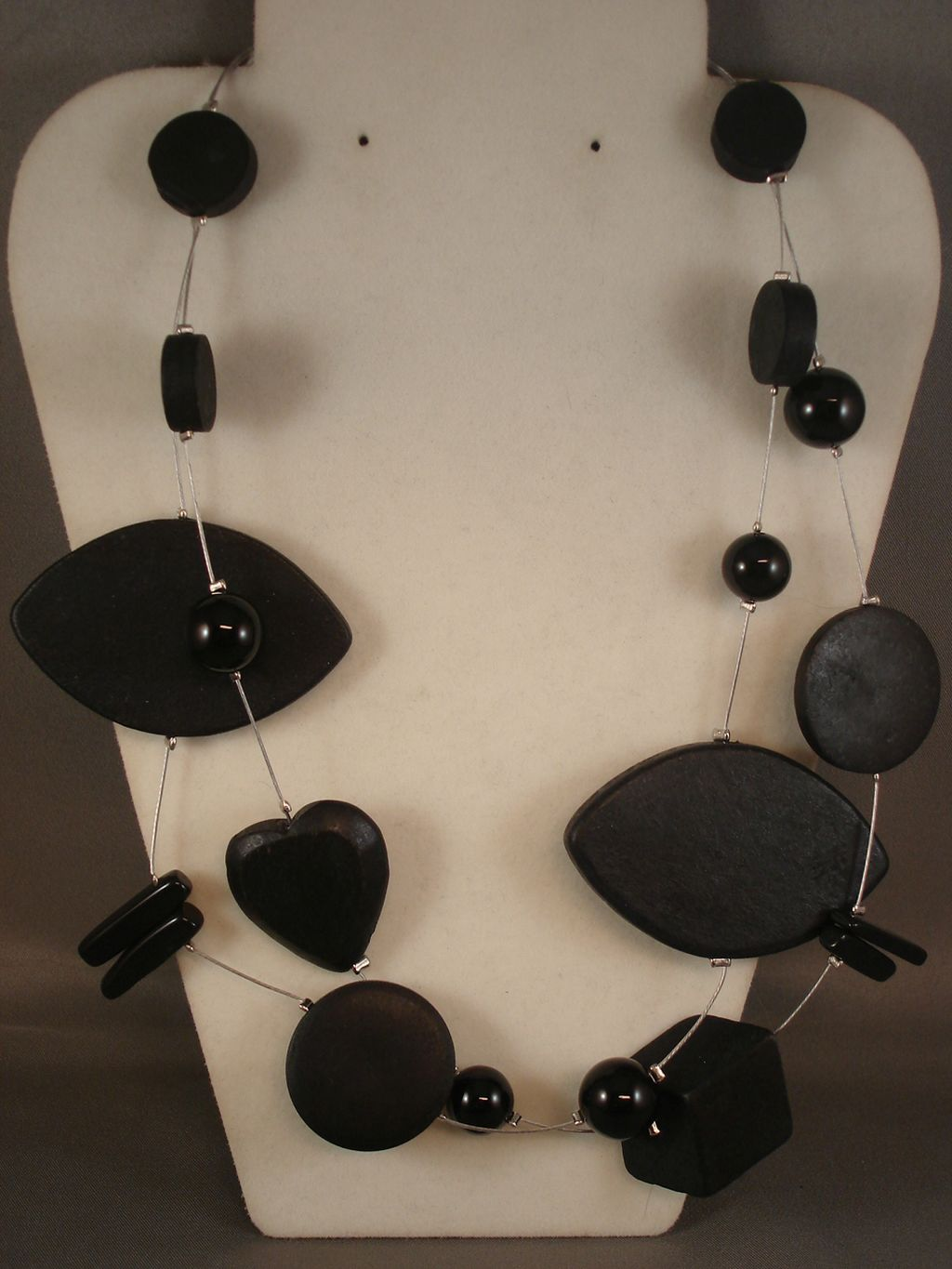 Genuine Onyx Stones Black Wood Contemporary Heart Necklace