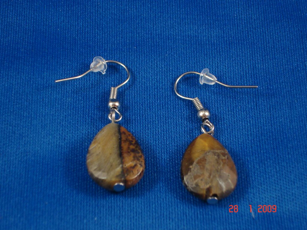 Genuine Tiger`s Eye Stones Contemporary Drop Earrings