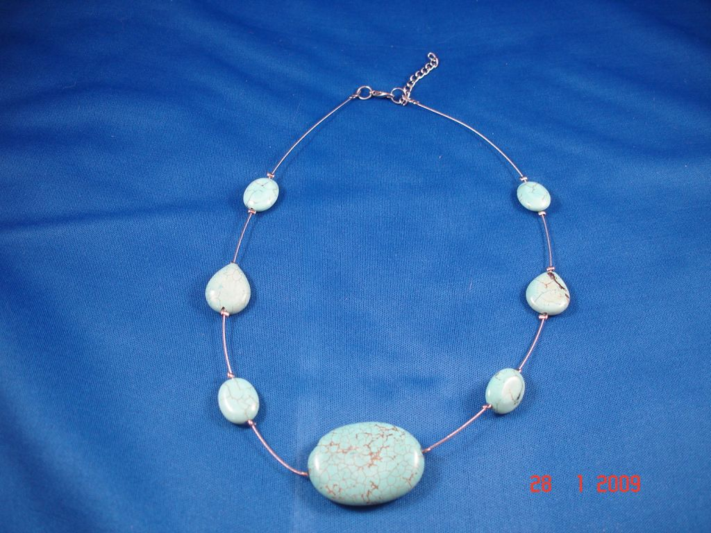 Genuine Turquoise Stone Beads Necklace, European Fashion Jewelry