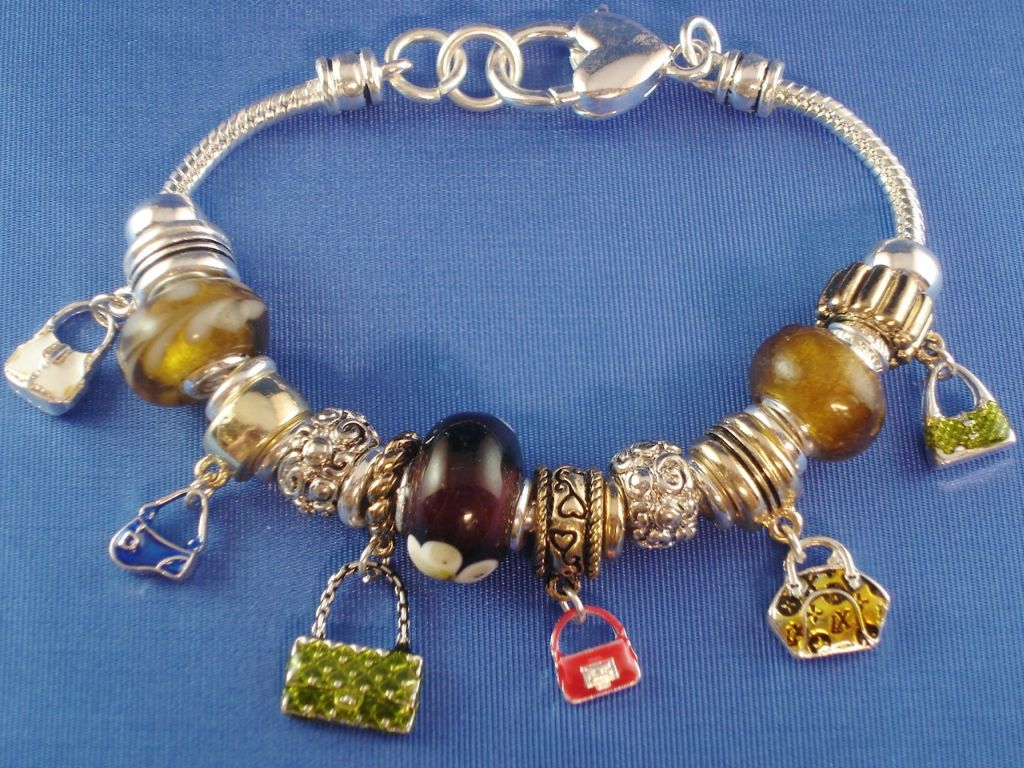 """Girls Love Shopping"" Purse Charm Bracelet, Stained Glass Beads, Pandora Inspired"