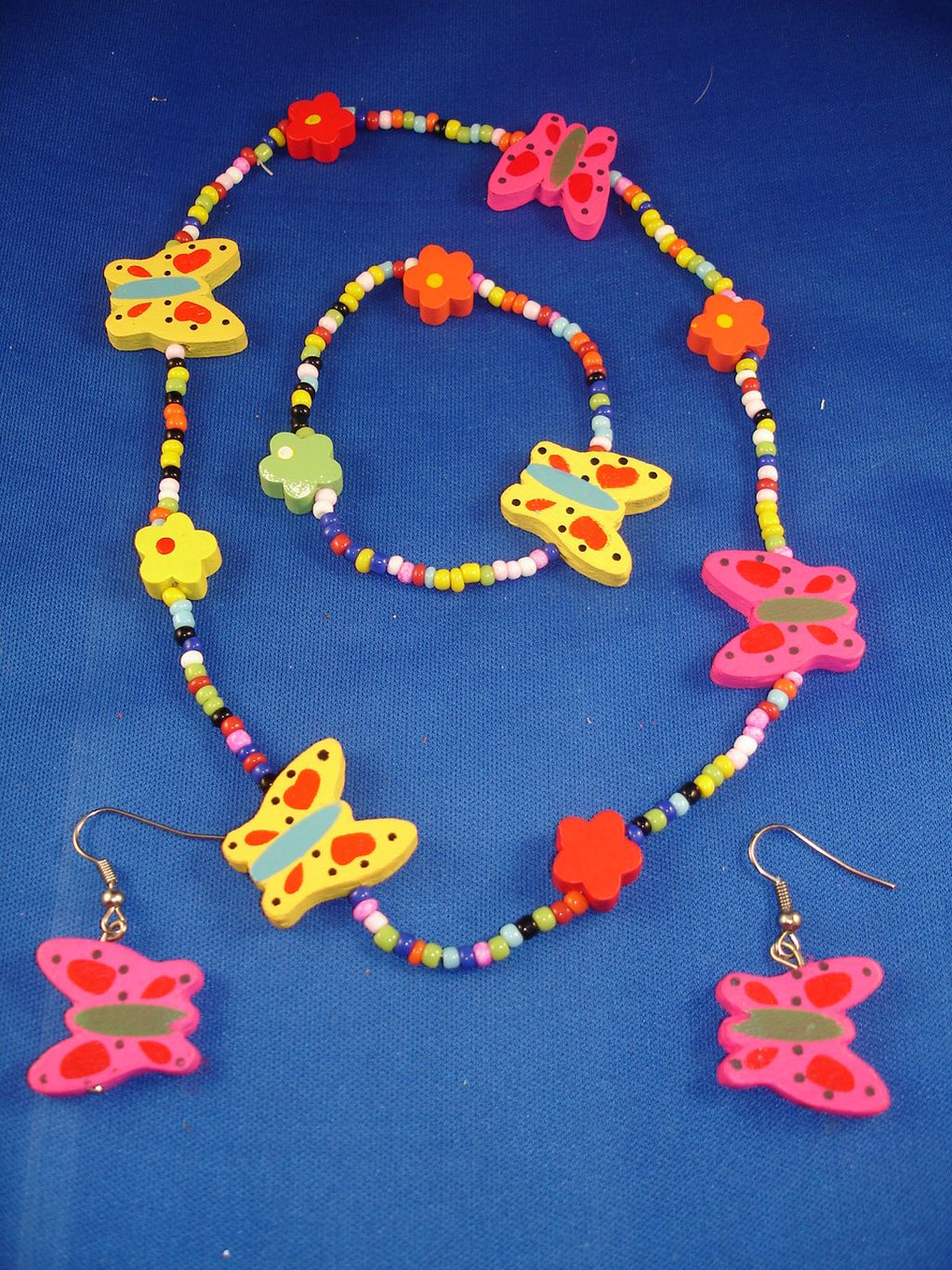 Girls Set of Necklace, Bracelet & Earrings, Bright Colorful Butterflies, Non-Allergic Jewelry