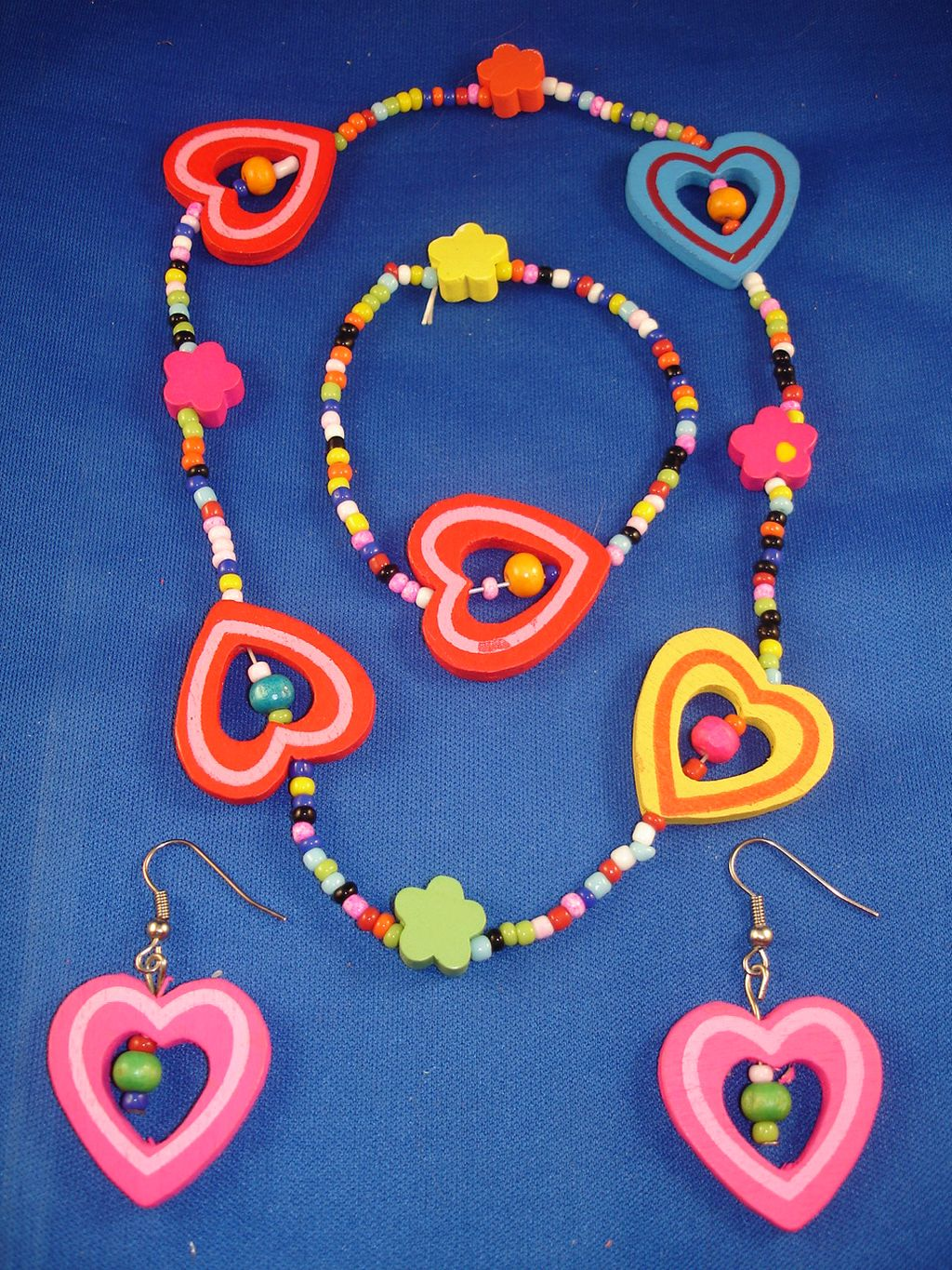 Little Girl Summer Colors Hearts Necklace Bracelet Pink Earrings, Non-Allergic Jewelry