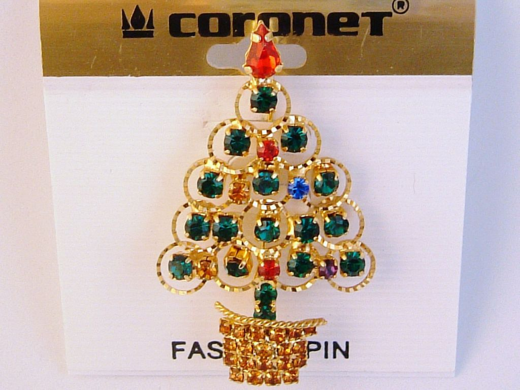 Gold Christmas Tree Brooch Pin, Red Green Blue Purple Topaz Austrian Crystals