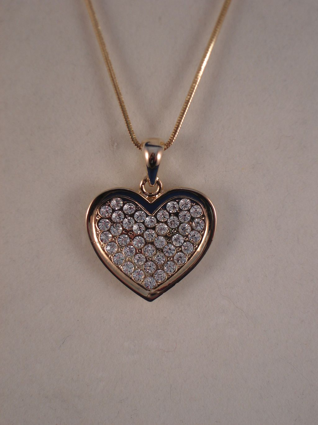 "Gold Color Necklace, 1"" Heart Pendant, Genuine White Austrian Crystal, Anti-allergic Jewelry"