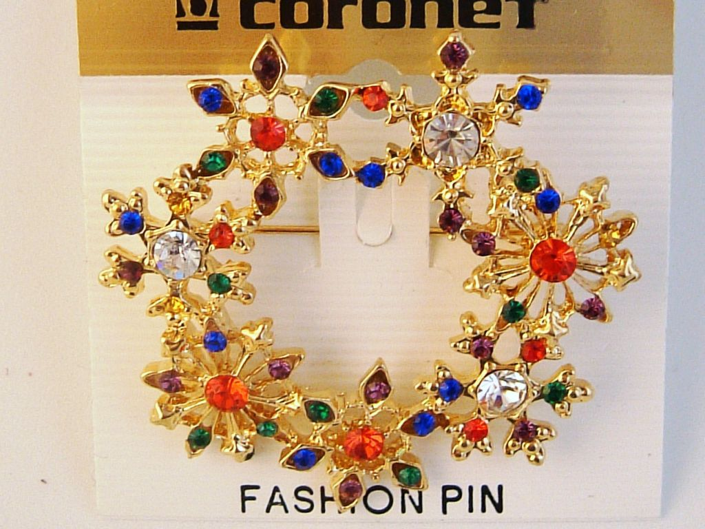 Gold Tone Christmas Snowflake Brooch Pin, Red Green Blue Purple Clear Austrian Crystals