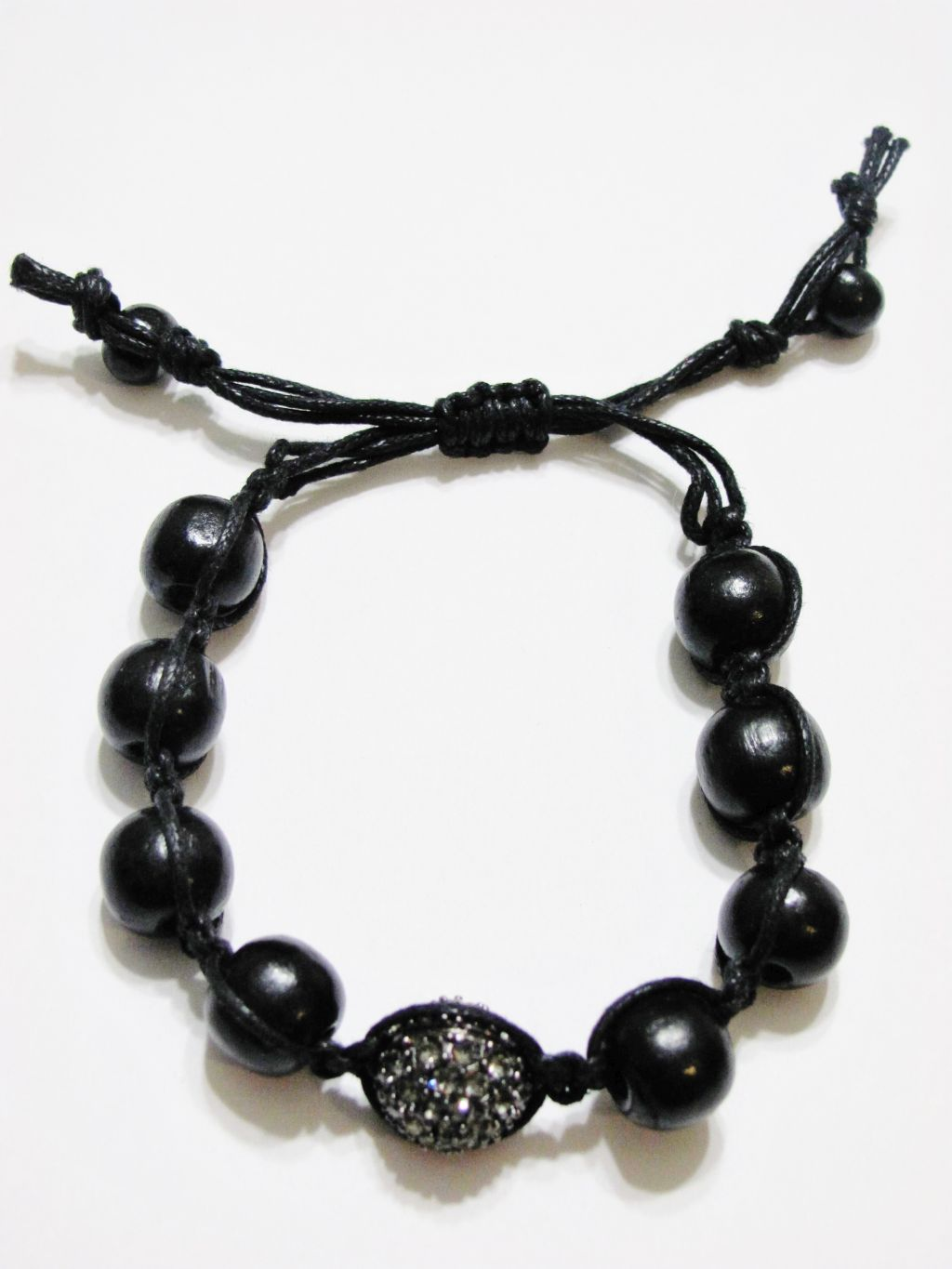 Gray Hematite Ball & Wooden Beads Shamballa Bracelet