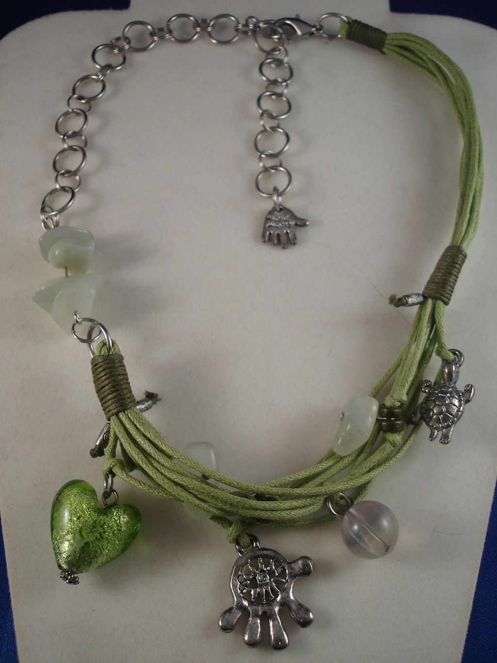 Green Cotton & Chain Necklace, Turtle, Bell, Palm Charms & Glass Heart Pendant, Anti-allergic Jewelry