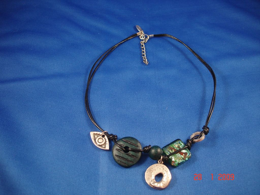 Green Evil Eye Genuine Leather Necklace, Protects from Evil Spirit, European Fashion Jewelry