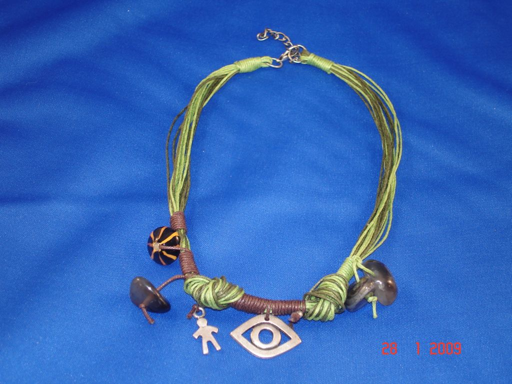 Green Evil Eye Necklace, Natural Stones, European Fashion Jewelry