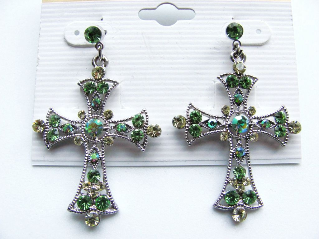 Green Peridot Cross Post Earrings Genuine CZ Stones