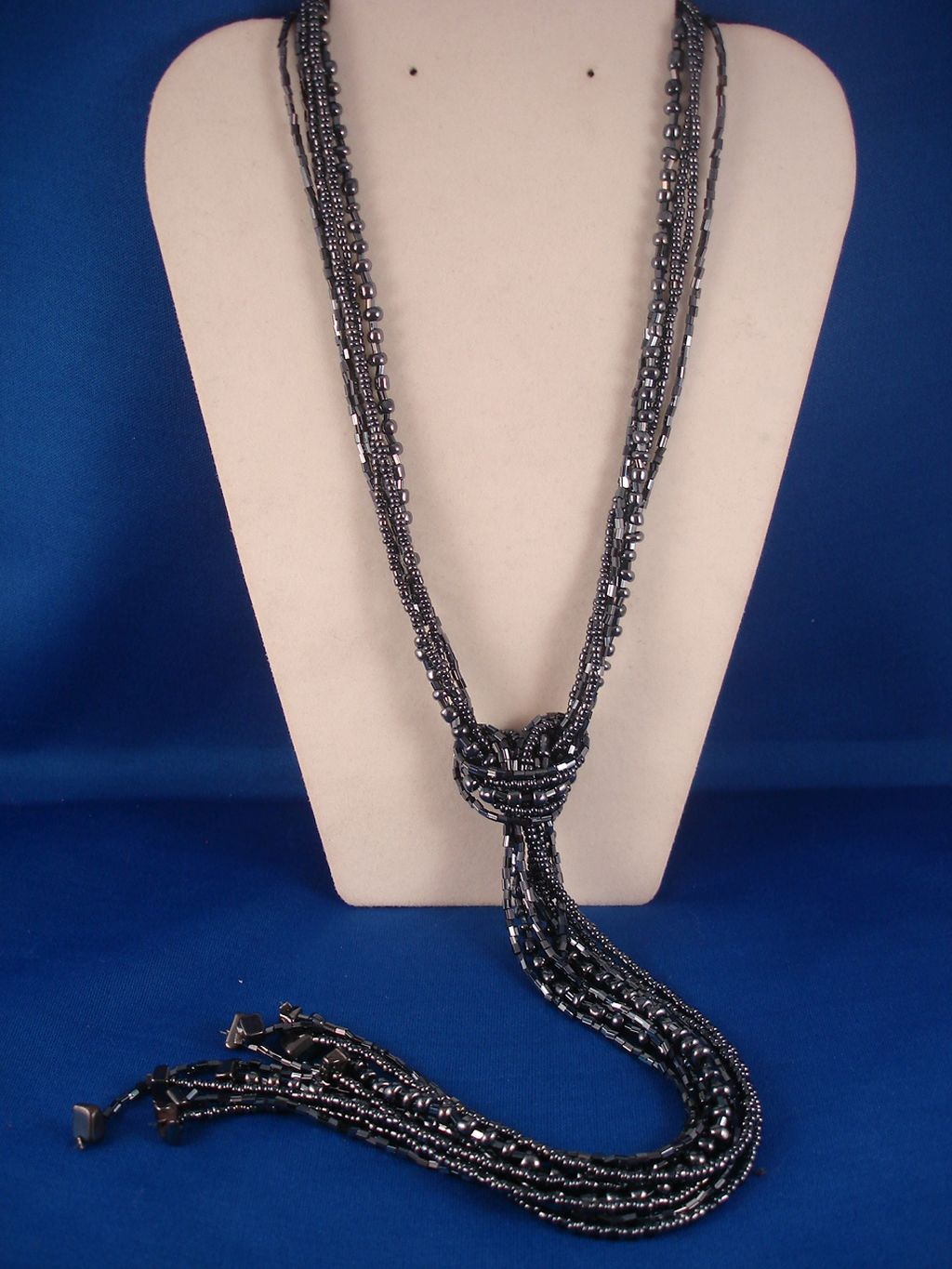 Hematite Beads & Genuine Stones Contemporary Knot Necklace