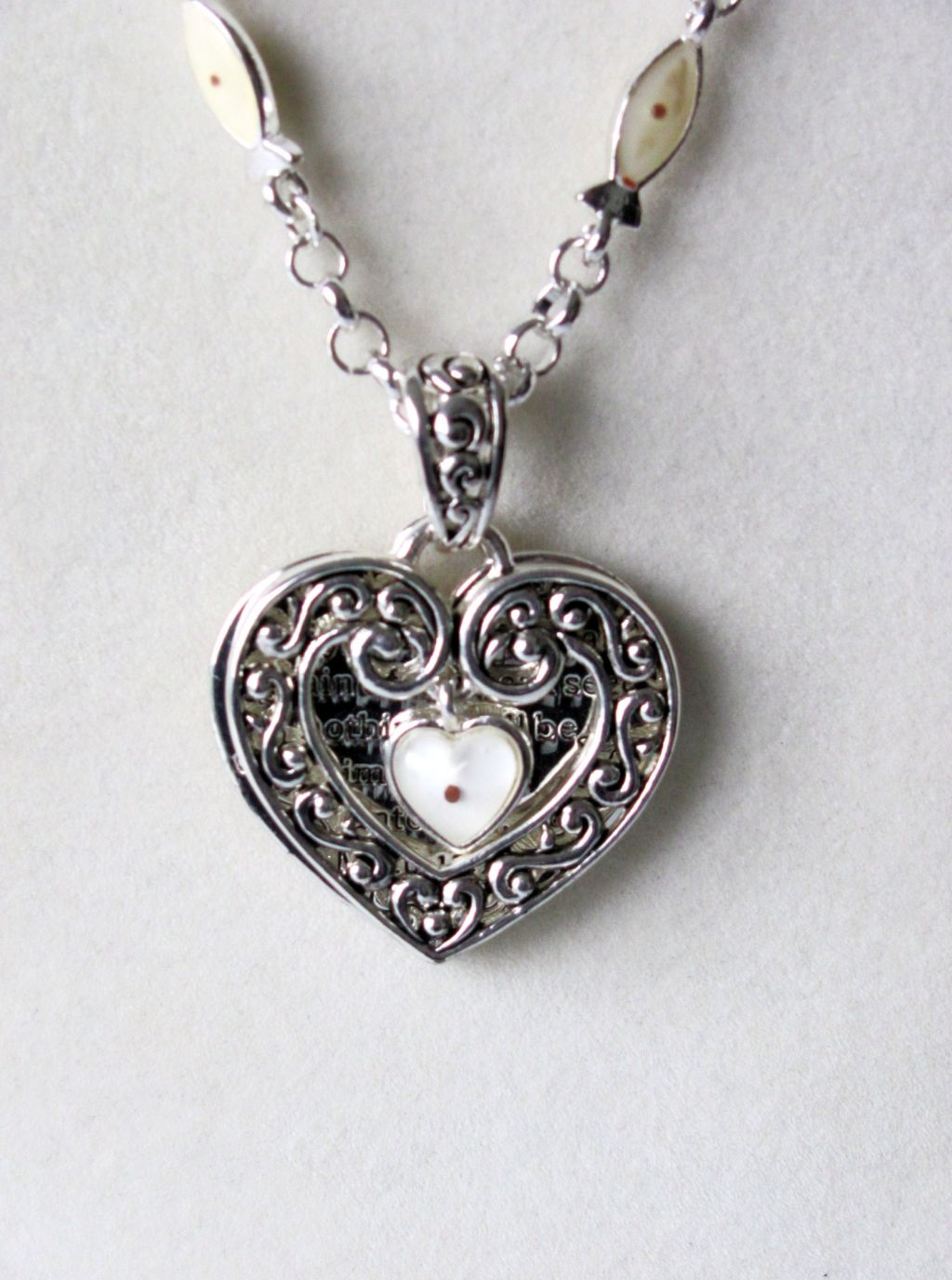 Inspirational Message Double Heart Pendant w/ Charm Necklace, Vintage Silver