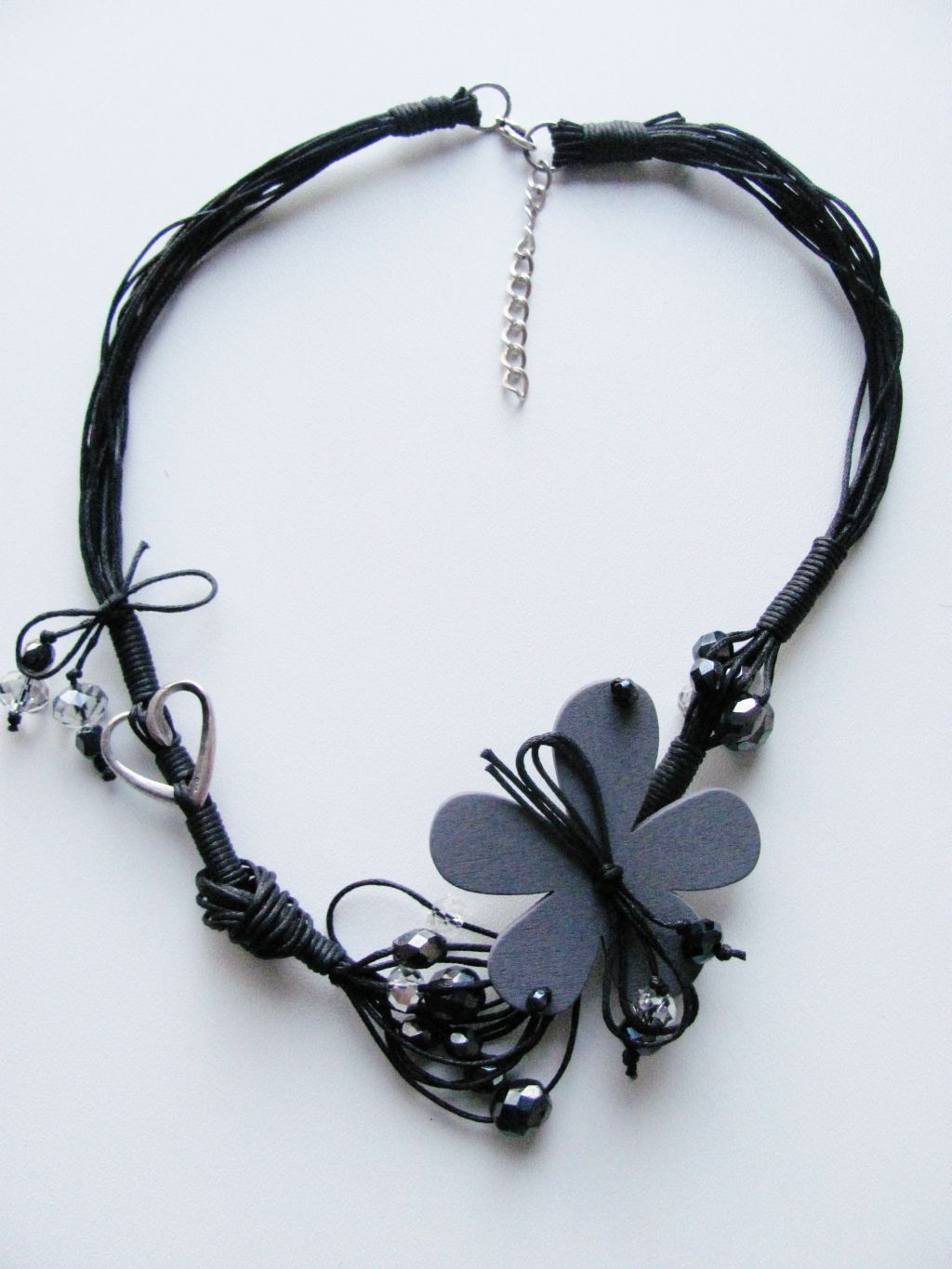 Large Black Flower Summer Necklace, Cotton & Wood