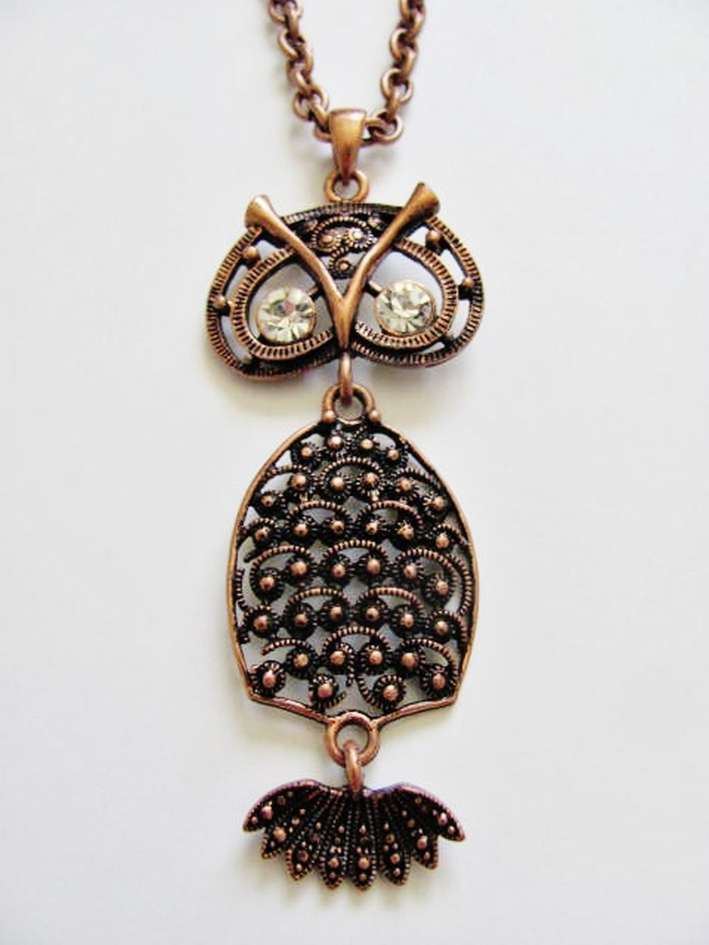 Large Copper Owl Pendant 32