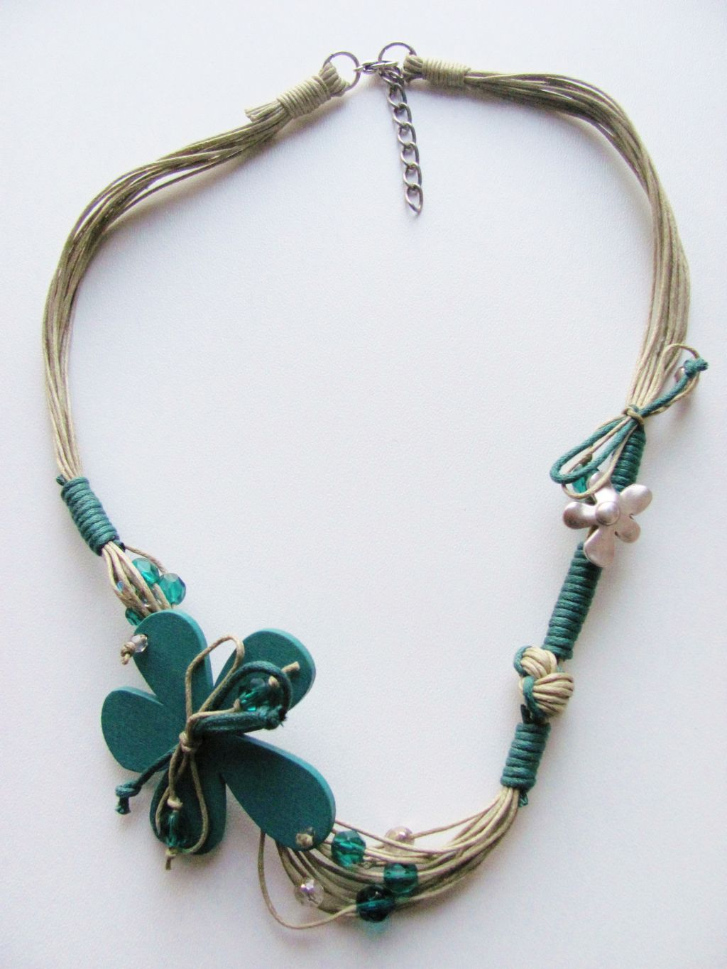 Large Green Flower Summer Necklace, Cotton & Wood