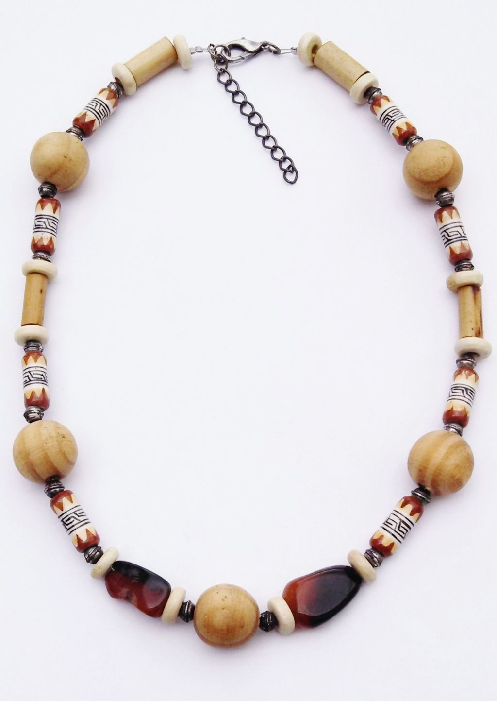 Large Wood Brown Stone Tribal Bead Surfer Beach Necklace, Men's Unisex