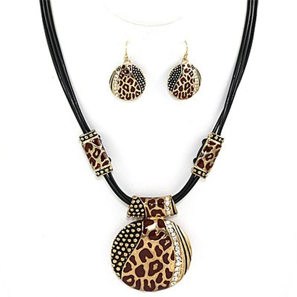Leopard Skin Print Circle Pendant Necklace Earrings Set w/ Rhinestones