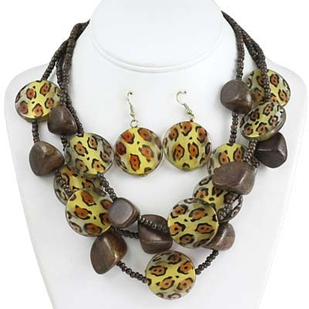 Leopard Skin Print Wood Bead Three Layers Necklace Earrings Set