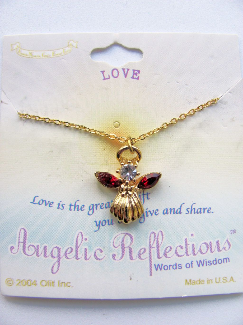 Love Inspirational Ruby-Red Angel Pendant Necklace Gold Tone