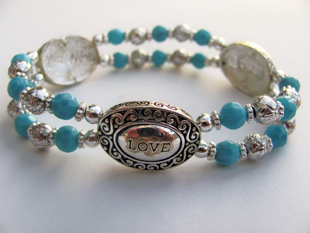 Love Live Laugh Inspirational Turquoise Silver Bracelet