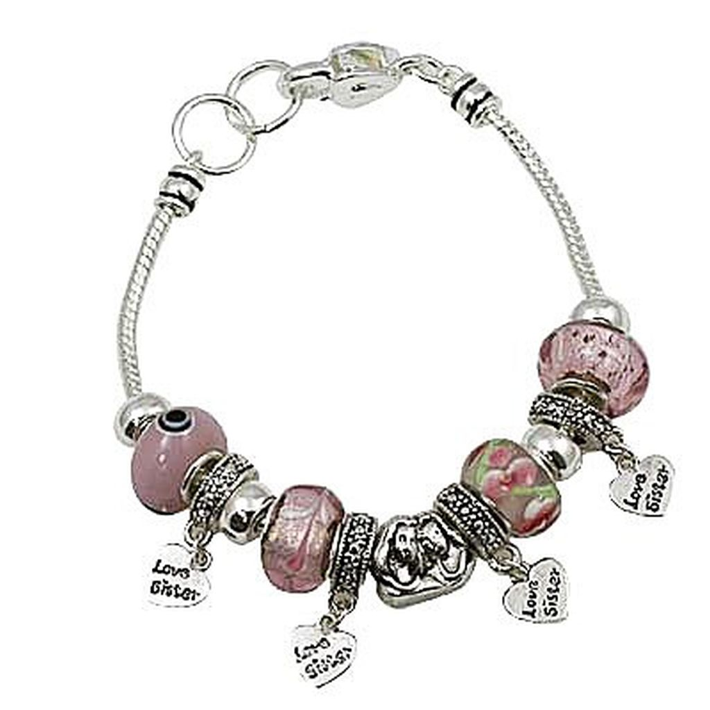 Love Sister Pink Murano Charm Bead Bracelet Pandora Inspired Vintage Style
