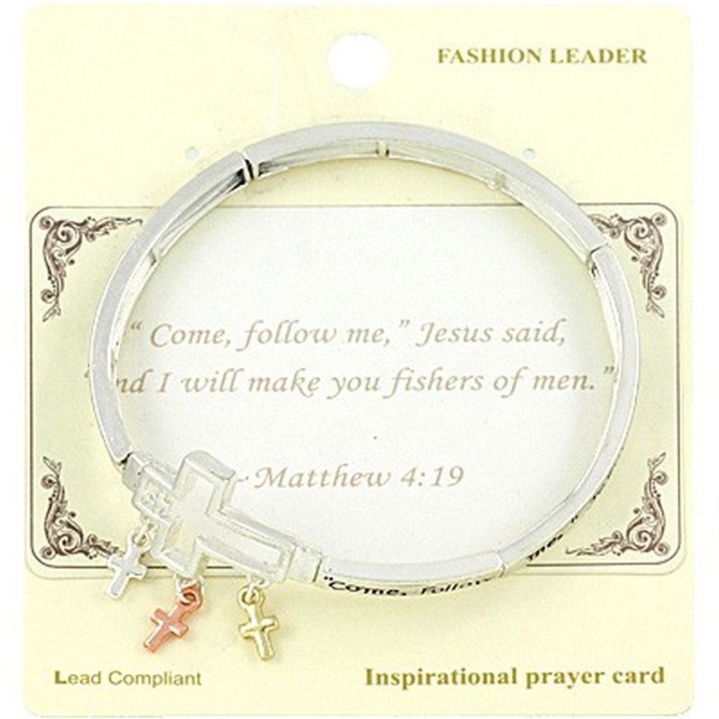 Matthew 4:19 Cross Charm Bracelet Inspirational Message Sliver