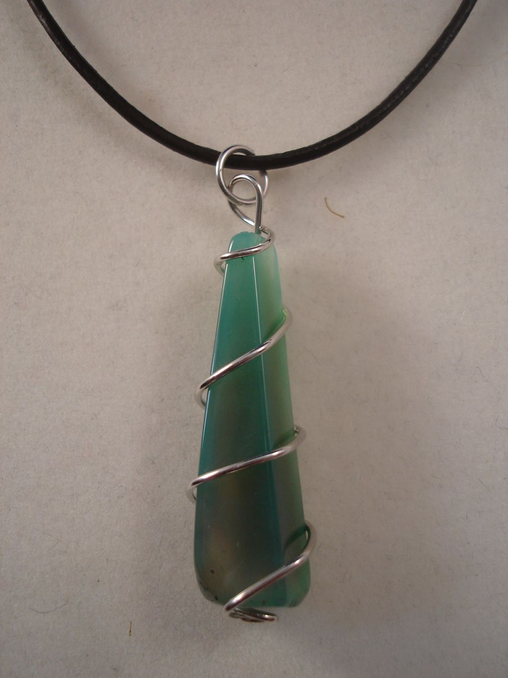 Mineral Green Genuine Stone Pyramid Pendant, Leather Cord Necklace, European Fashion