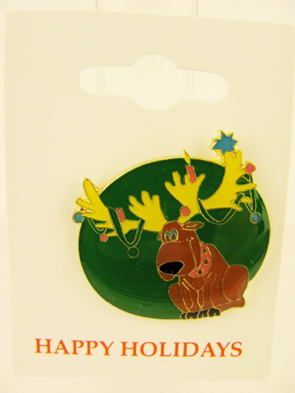 Moose Head Christmas Pin