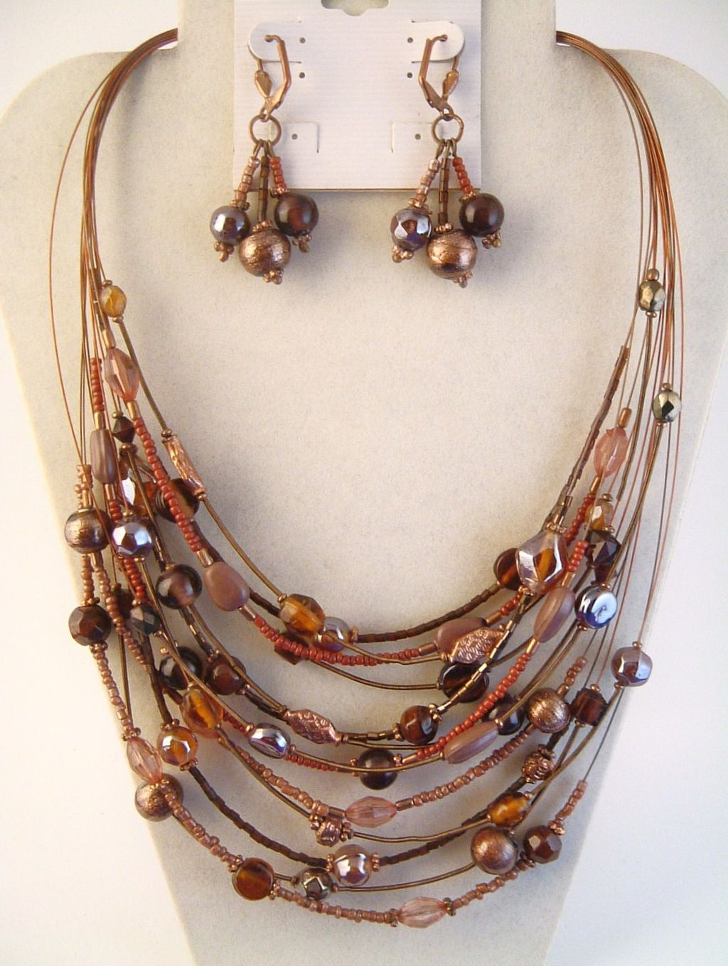 Multi-Strings Copper & Glass Beads Necklace Earring Jewelry Set