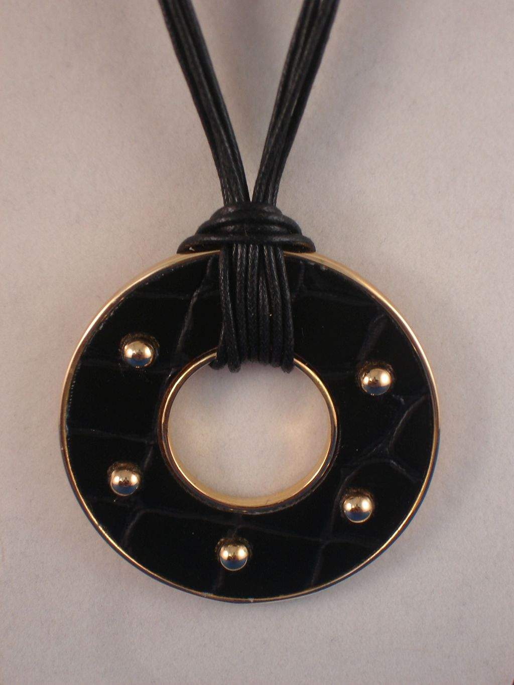 "Neckalce, 2"" Large Circle Pendant, Black & Gold Color, 4 Strings Cord"