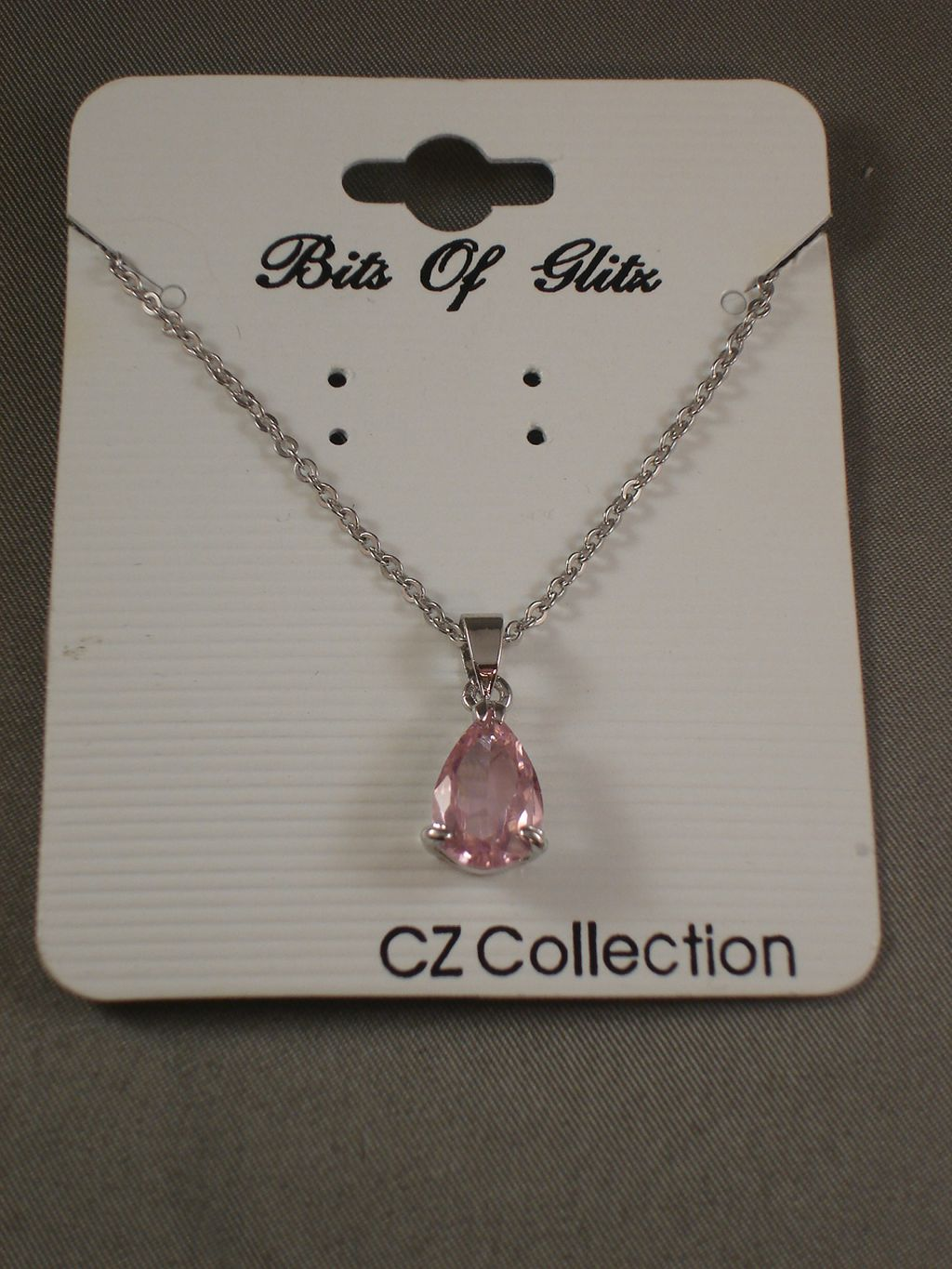 Necklace, Drop Shaped Pink Diamond CZ Cubic Zirconia Pendant, Chain, Sterling Silver Plated Jewelry