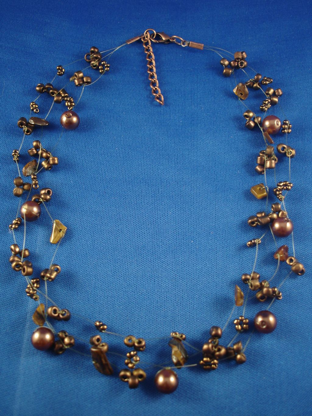 Necklace, Three Layers of Brown Beads, Artificial Pearls & Genuine Stones, Fashion European Jewelry