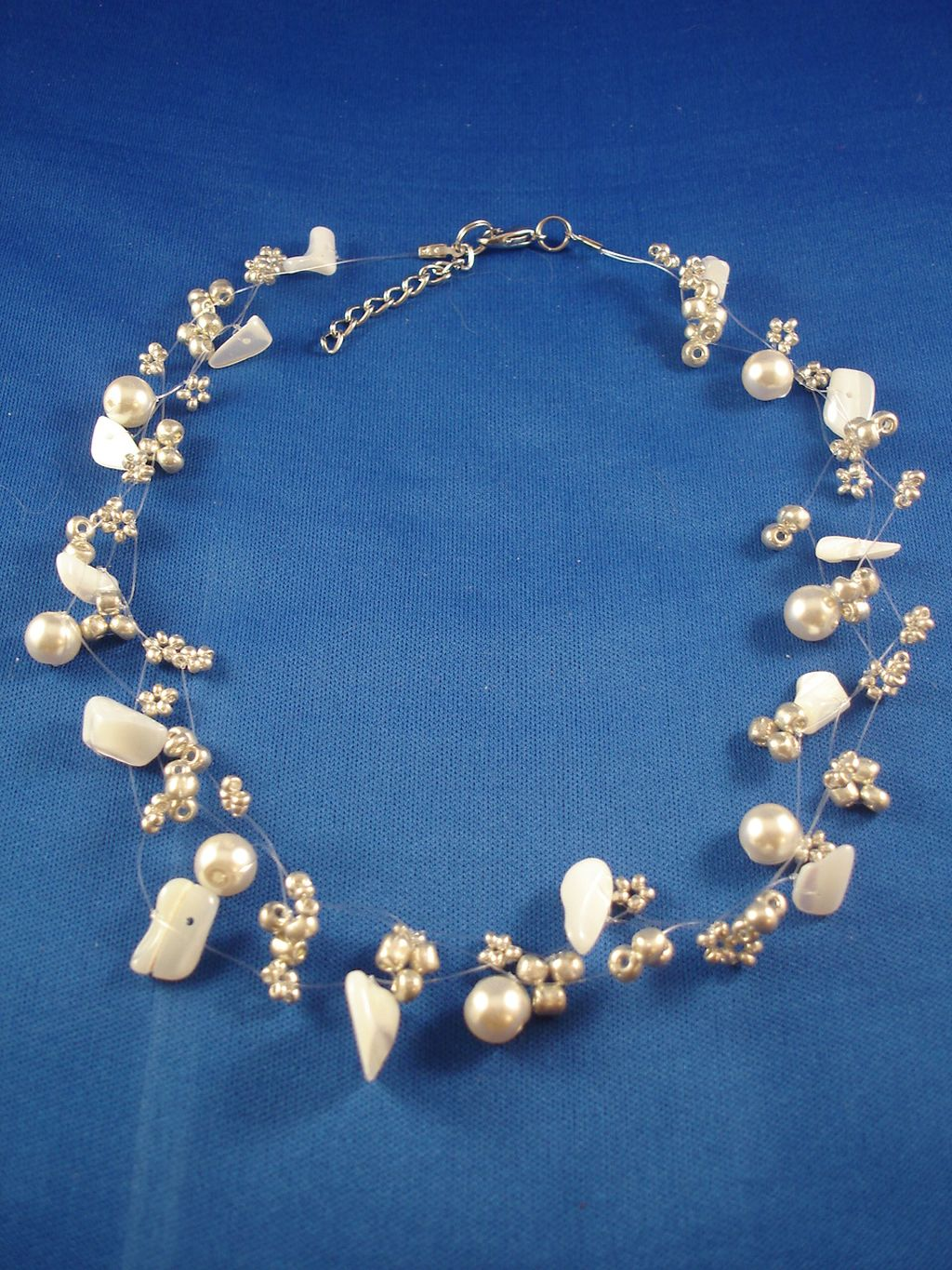 Necklace, Three Layers of Champagne Beads, Artificial Pearls & Genuine Stones, Fashion European Jewelry