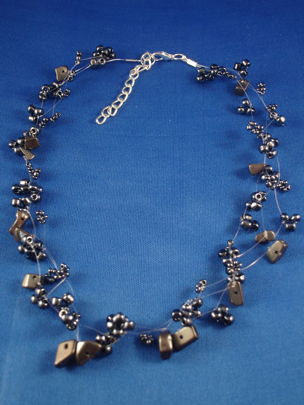 Necklace, Three Layers of Metallic Blue Beads & Genuine Stones, Fashion European Jewelry