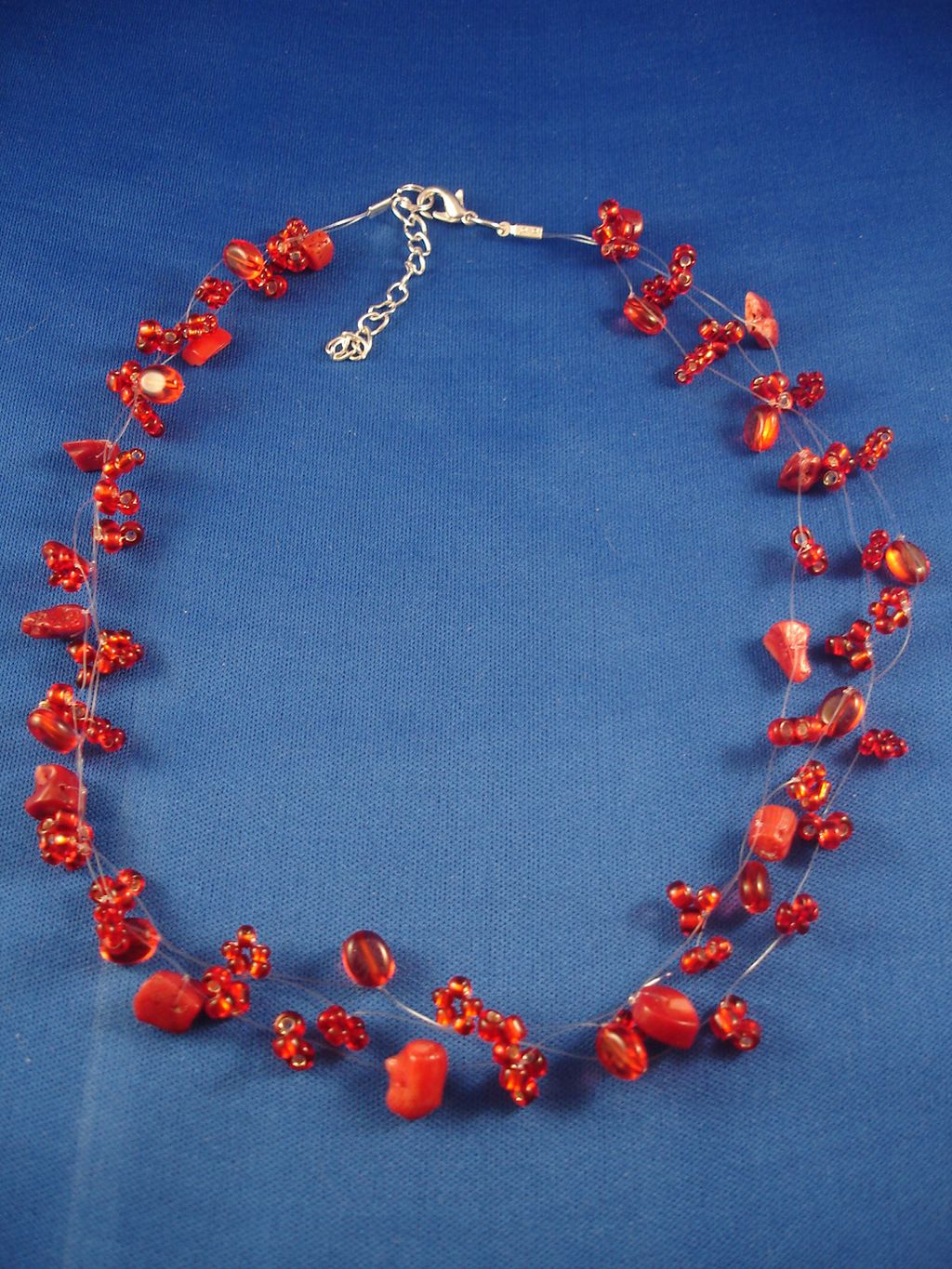 Necklace, Three Layers of Red Beads & Genuine Stones, Fashion European Jewelry