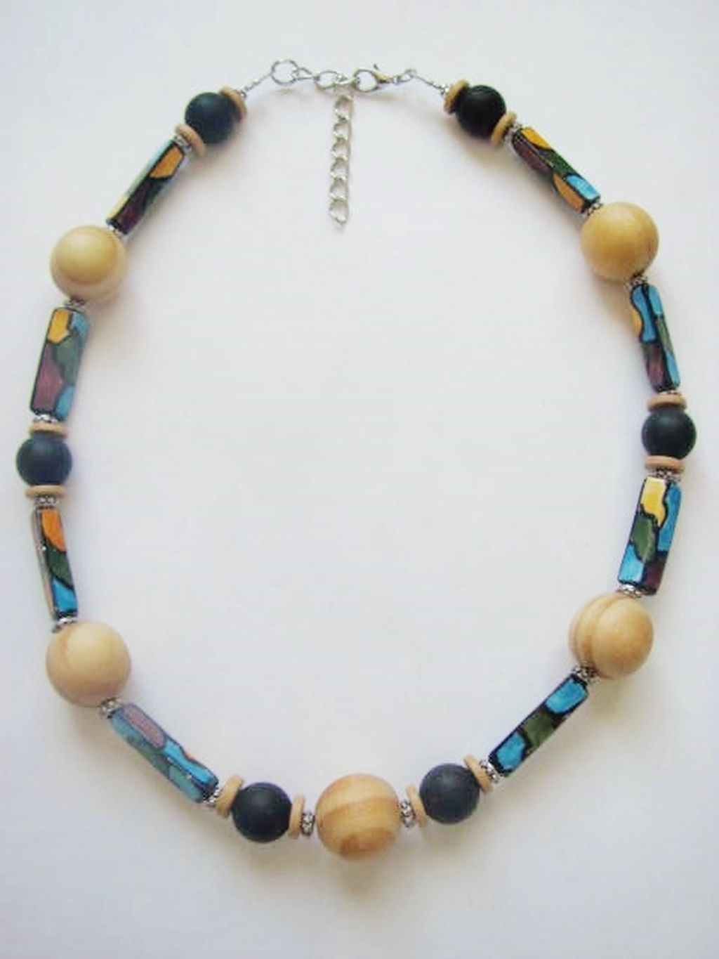 Ocean Wave Large Wood & Stone Bead Surfer Beach Necklace, Men's Unisex