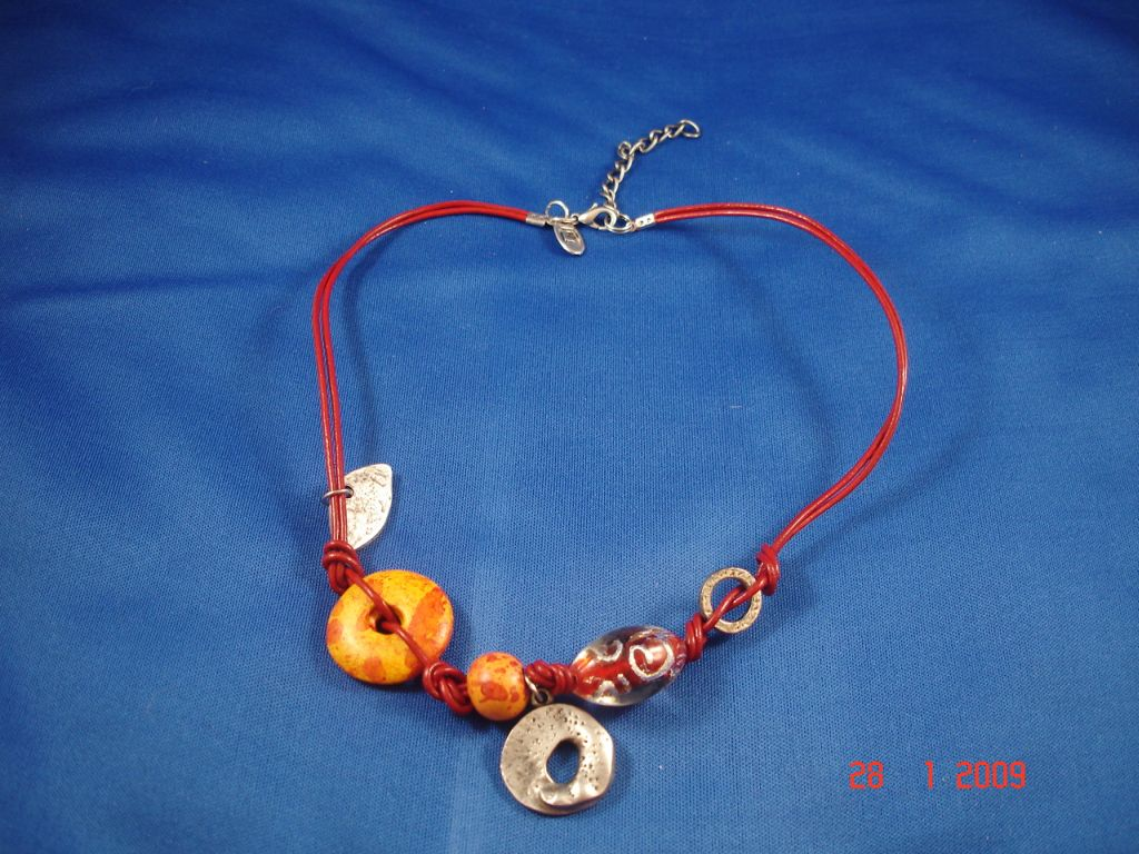 Orange Evil Eye Genuine Leather Necklace, Protects from Evil Spirit, European Fashion Jewelry