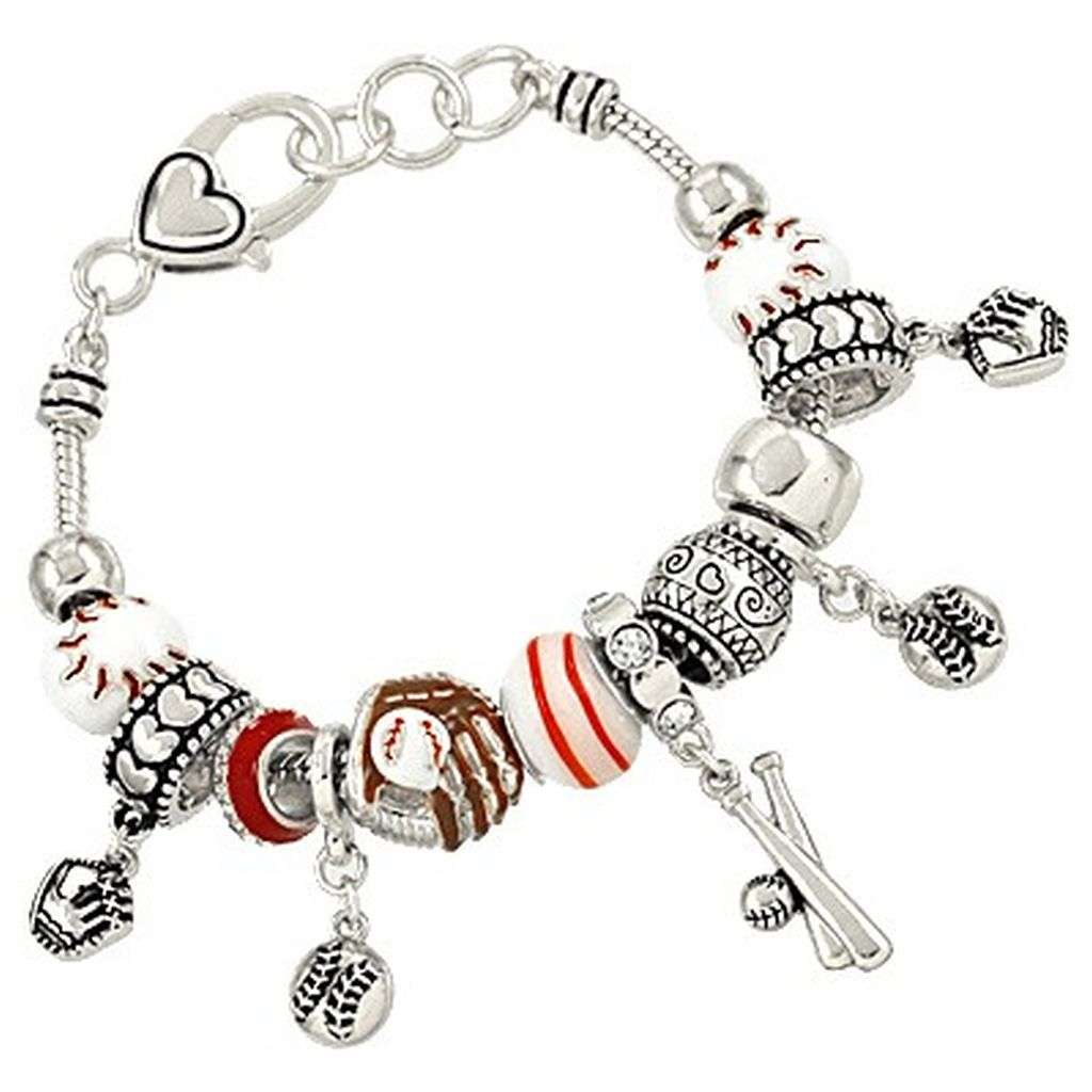 Pandora Inspired Baseball Sport Theme Charm Bracelet, Bat Glove Ball