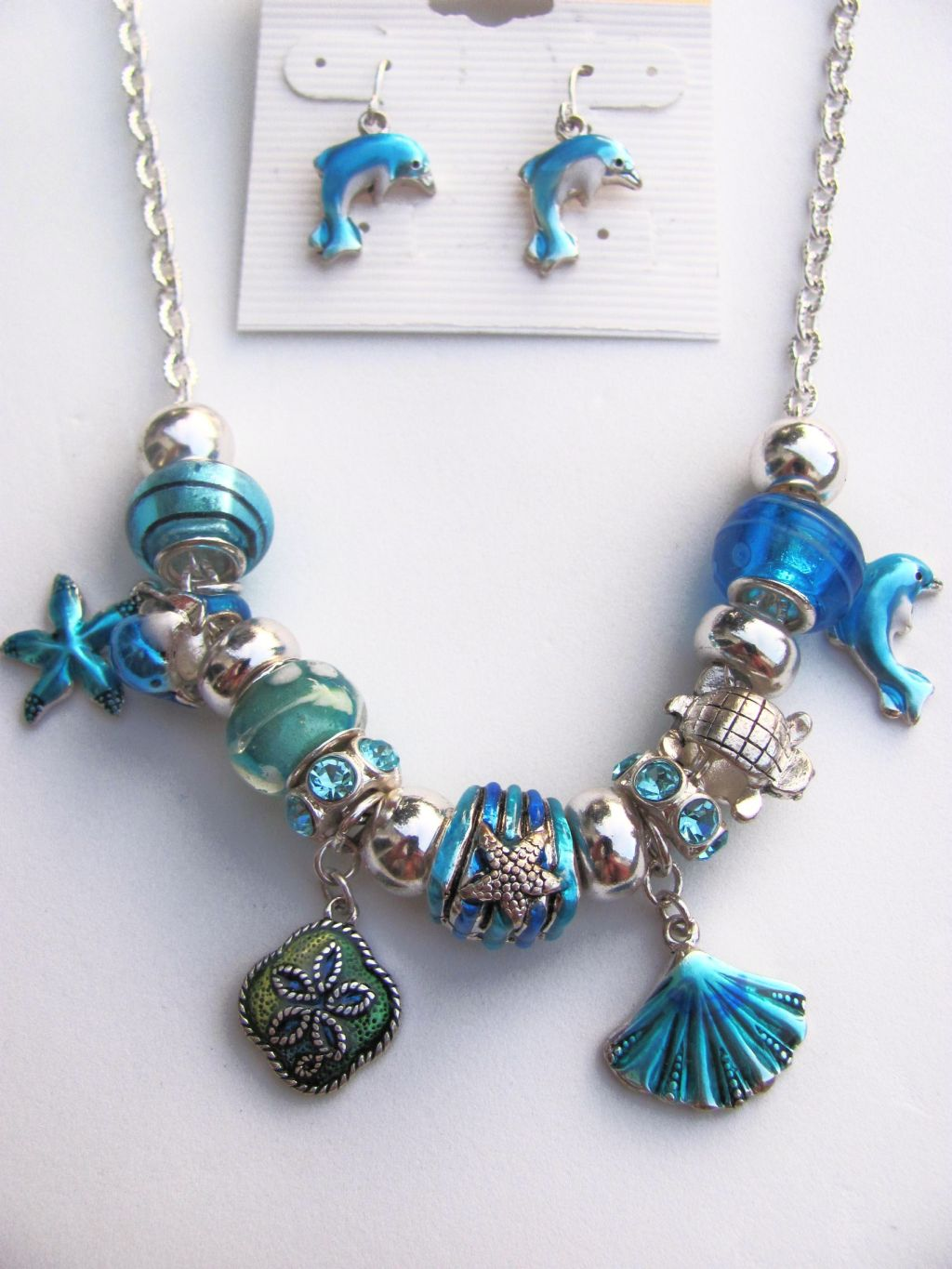 Pandora Inspired Blue Nautical Charm Dolphin Turtle Necklace Earrings Sea Star