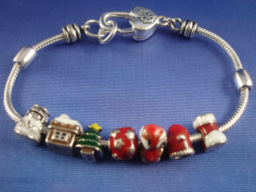 Pandora Inspired Christmas Charm Bracelet, Pine Tree, Snow Angel, Shoe, Home, Glove, Anti-allergic Jewelry