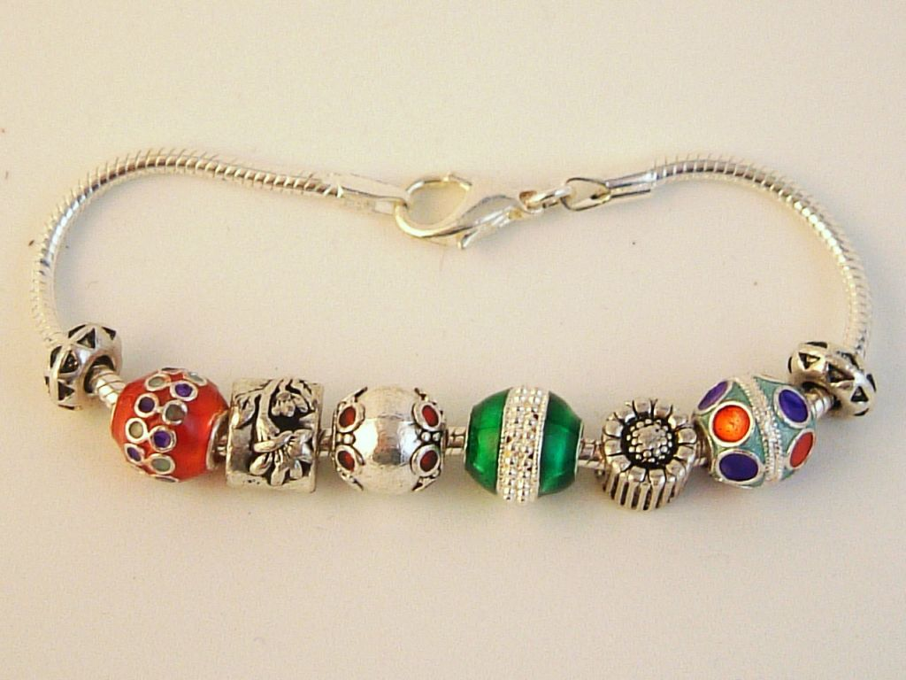 Pandora Inspired Christmas Ornaments Charm Bracelet, Flower, Colorful Vintage Metal Beads