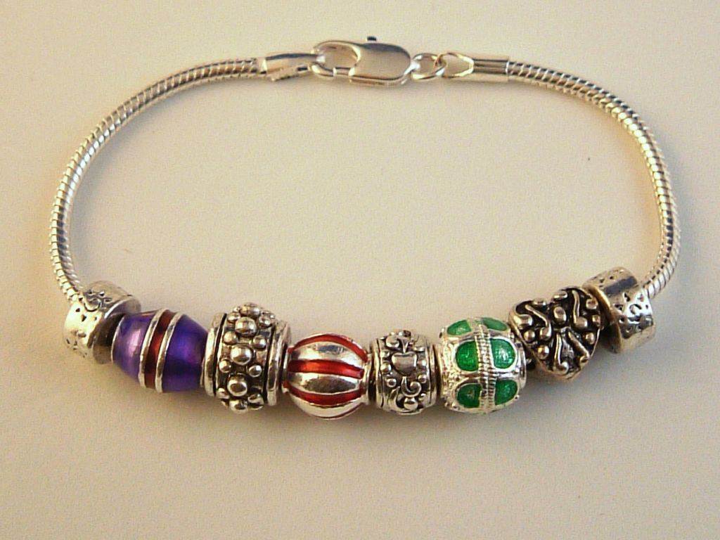 Pandora Inspired Christmas Ornaments Charm Bracelet, Heart, Colorful Vintage Metal Beads